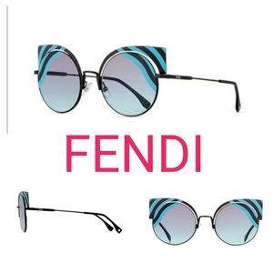 🆕Fendi 🚺 Cat-Eye Turquoise/Black Sunglasses